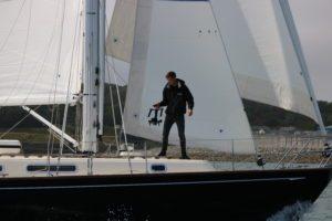 Fionn filming on Yacht