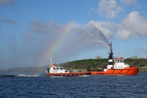 Water cannon rainbow off Pendennis