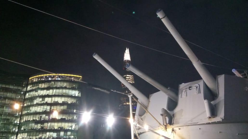Alone on HMS Belfast - Shard above guns Truk Lagoon Documentary