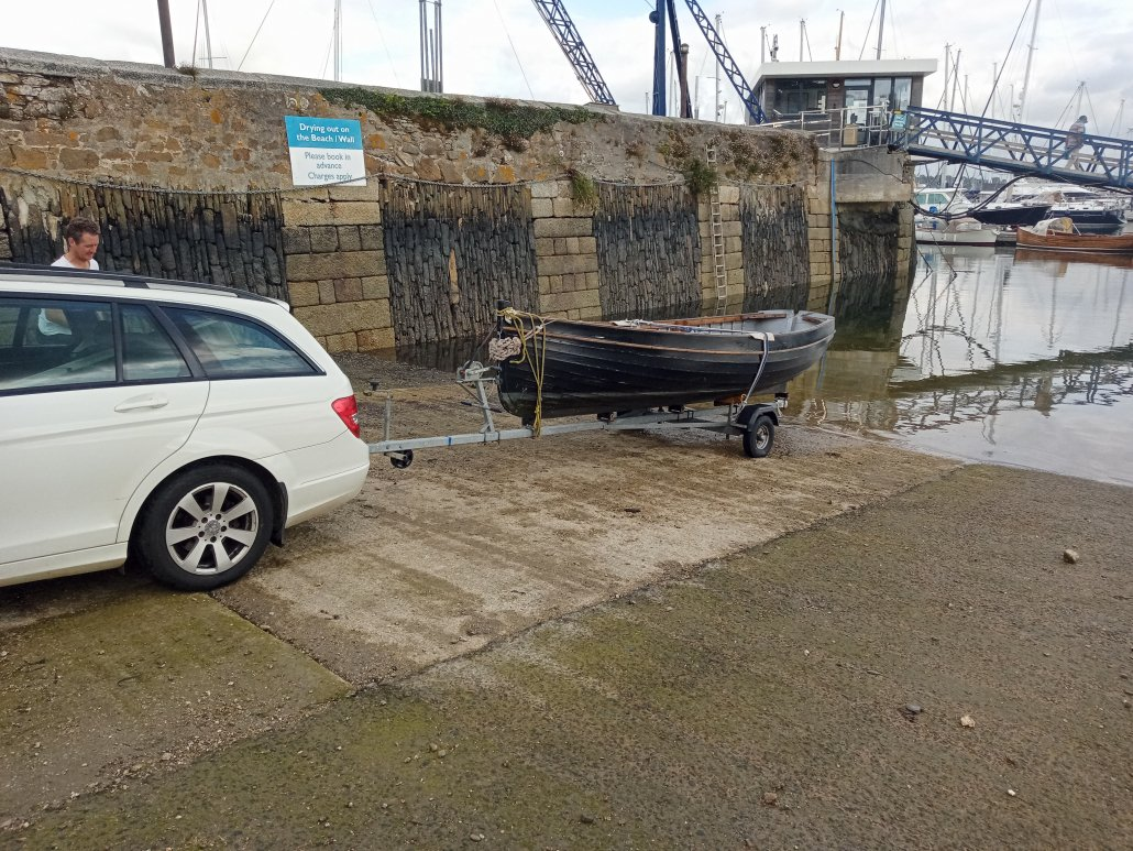 Picking up a traditional Cornish built wood rowing boat as a prop