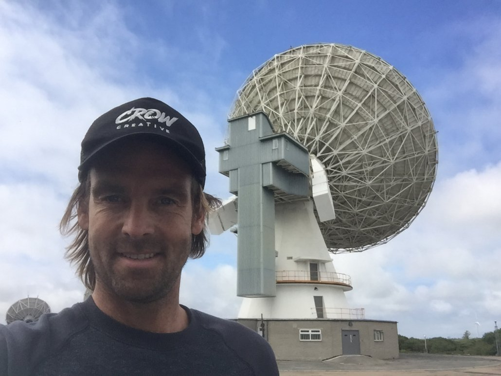 Fionn filming at Goonhilly
